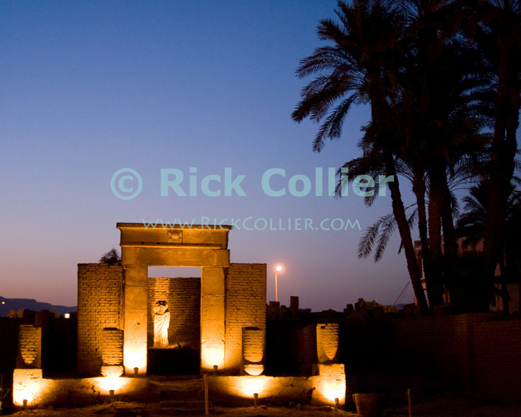 """Luxor, Egypt -- The Chapel of Serapis (Sarapis), built during the Ptolemaic period outside Luxor Temple.  Serapis was a hybrid God of Greek and Egyptian roots that was introduced after the conquest of Egypt by the Macedonians and remained in use throughout the Ptolemaic pharoahs and the Roman conquest.     © Rick Collier / RickCollier.com.<br /> <br /> <br /> <br /> <br /> <br /> travel; vacation; tour; tourism; tourist; destination; Egypt; Luxor; temple; hieroglyph; hieroglyphic; """"ancient Egypt""""; archeology; archeological; ruin; """"Luxor Temple""""; Serapis; Sarapis; shrine; chapel"""