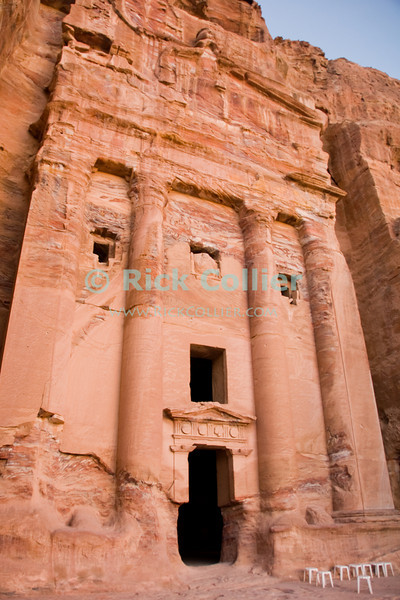 """""""Urn Tomb,"""" Petra, Jordan.  This incredible structure was all hand-carved from the rock of the valley wall.  © Rick Collier<br /> <br /> <br /> <br /> Jordan Petra Nabatea Nabatean Rome Roman ruin archeology 'ancient world' antiquity cave 'cave dwelling' antiquities Bible Biblical civilization history historic desert stone cliff wall carve carved facade tourist tourism archeology royal tomb tombs valley desert necropolis street road 'Urn Tomb' sandstone rock grain"""