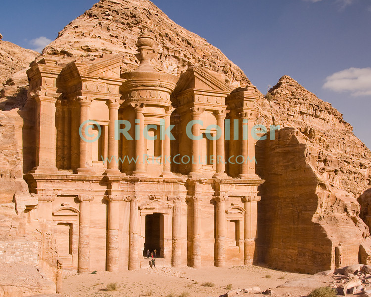 "The massive ""Monestary"" (ad-Deir) was most likely another tomb.  This magnificent carved ediface is found at the top of nearly 1,000 steps, at the top of the Wadi ad-Deir at the back of the Nabatean capital of Petra, Jordan.  © Rick Collier<br /> <br /> <br /> <br /> Jordan Petra Nabatea Nabatean Rome Roman ruin archeology 'ancient world' antiquity cave 'cave dwelling' antiquities Bible Biblical civilization history historic desert stone cliff wall carve carved facade tourist tourism archeology tomb tombs valley desert necropolis monestary 'ad-Deir'"