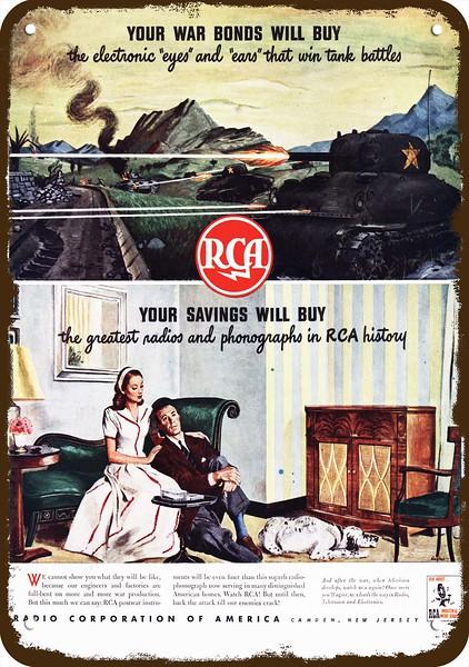 1944 RCA Vintage Look REPLICA METAL SIGN ARMY SHERMAN TANK SHOOTS ENEMY U.S