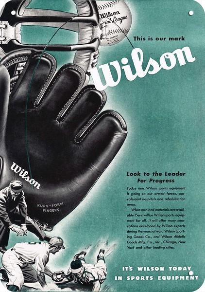 1945 WILSON SPORTING GOODS Vintage Look REPLICA METAL SIGN BASEBALL GLOVE