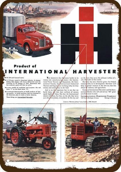 International Harvester Outstanding Farm Farmall Tractor Retro Wal Metal Sign