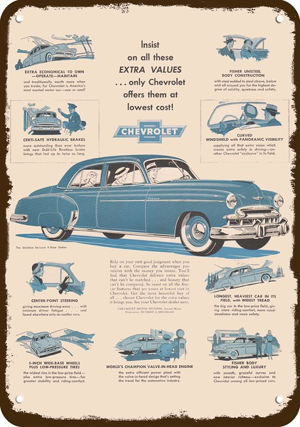 1949 CHEVROLET STYLELINE Green Deluxe Car CHEVY VINTAGE AD