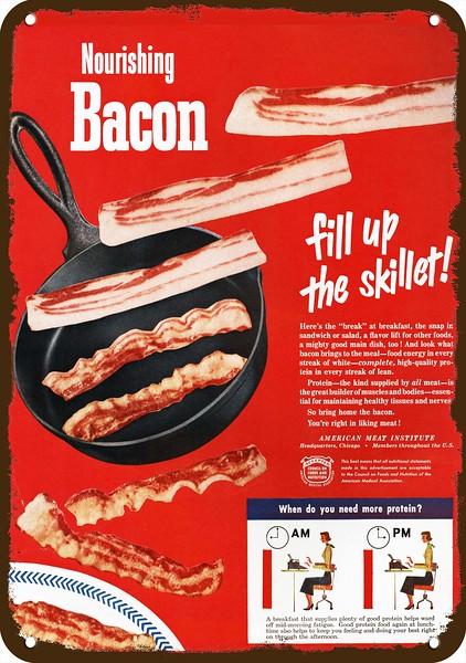 CRISP BACON COOKS 1950 AMERICAN MEAT INSTITUTE Vintage Look REPLICA METAL SIGN