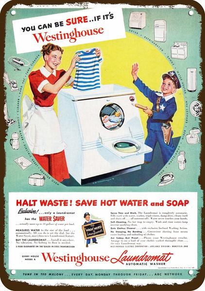 1950 WESTINGHOUSE LAUNDROMAT WASHING MACHINE Vintage Look REPLICA METAL SIGN COP