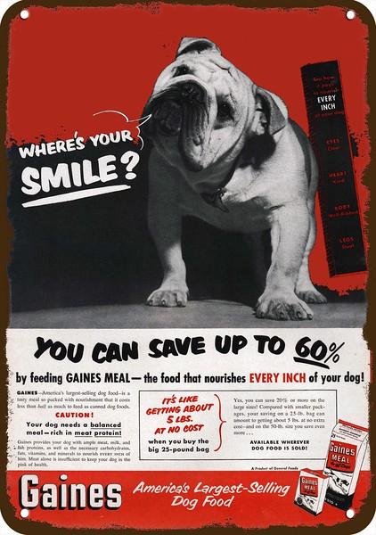 1944 GENERAL TIRE Vintage Look Replica Metal Sign CUTE ENGLISH BULLDOG DOG BUTCH