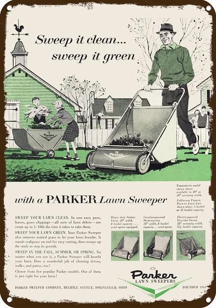 1956 PARKER PARKERETTE LAWN SWEEPER LAWN MOWER Vintage Look REPLICA METAL SIGN