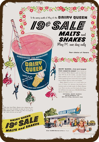 Dairy Queen Ice Cream Ad Advertising Baked Metal Repro Sign 9x12 60175