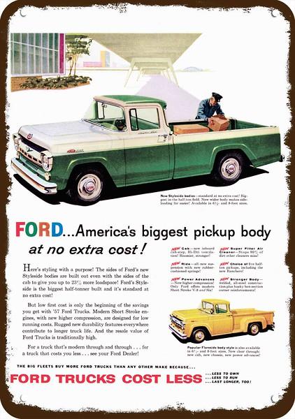 1957 Ford F100 Styleside Flareside Truck Vintage Look Replica