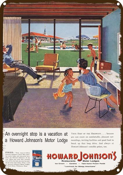 Hotel Vintage Look REPLICA METAL SIGN 1959 HOWARD JOHNSON/'S Restaurant /& Motel