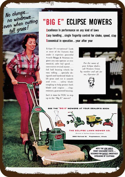 1959 Woman Mows Lawn w// ECLIPSE PUSH LAWN MOWER Vintage Look REPLICA METAL SIGN