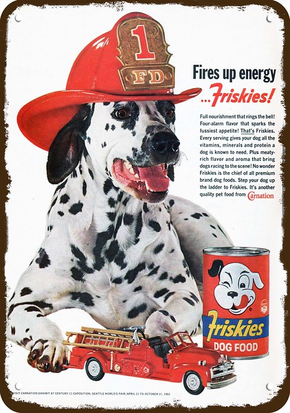 1947 TEXACO Vintage Look REPLICA METAL SIGN DALMATIAN DOG /& FIREMAN CHIEF HAT