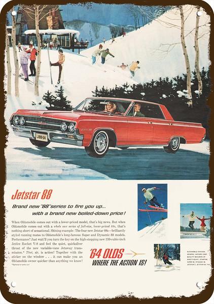 """1951 OLDSMOBILE 88 Car Rocket Rustic Retro Metal Sign 8/"""" x 12/"""""""