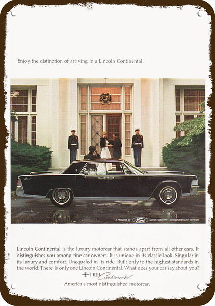 MODERN CLASSIC 1964 LINCOLN CONTINENTAL Car Vintage Look REPLICA METAL SIGN