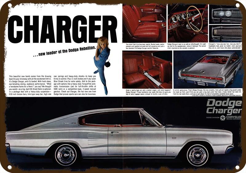 1966 Dodge Charger 383 W Optional 426 Hemi Car Vintage Look Replica Metal Sign Ebay