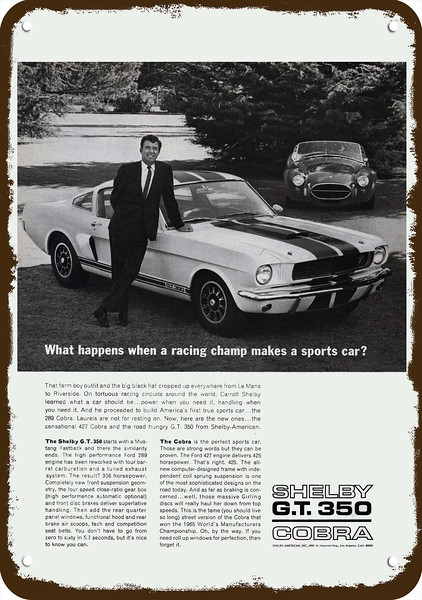 Vintage Look Reproduction Metal Sign 1966 Ford Mustang Hardtop