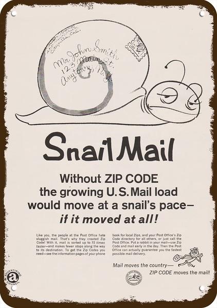 1968 UNITED STATES POSTAL SERVICE ZIP CODE Vintage Look Metal Sign