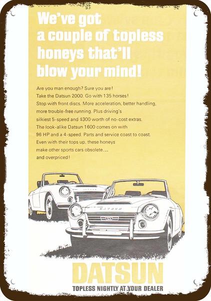 Datsun 1600 Roadster >> 1968 Datsun 2000 1600 Convertible Car Vintage Look Metal Sign Topless Honeys Ebay