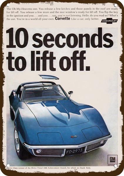 1975 Chevrolet Corvette Vintage Look Reproduction 2 Metal Sign