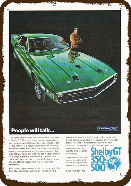 1966 SHELBY MUSTANG GT 350 GT350 /& COBRA 427 Car Vintage Look REPLICA METAL SIGN