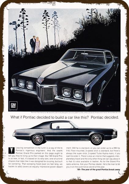 1969 PONTIAC GRAND PRIX Car Vintage Look REPLICA METAL SIGN