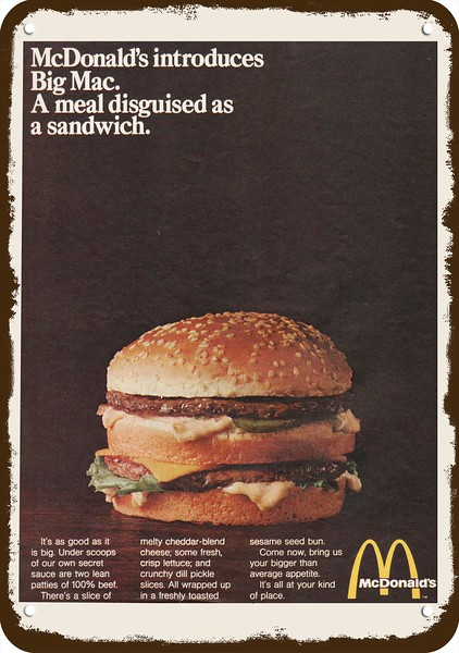 1968 McDONALD/'S RESTAURANT INTRODUCES BIG MAC Vintage Look REPLICA METAL SIGN