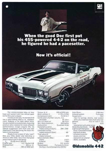 Pristine Restoration 1970 Oldsmobile 442 Convertible New Metal Sign