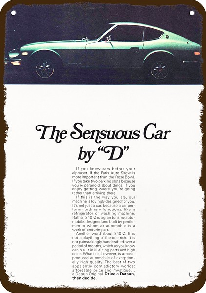 1971 DATSUN 240-Z 240z Sports Car Vintage Look METAL SIGN JOIN A MINORITY GROUP
