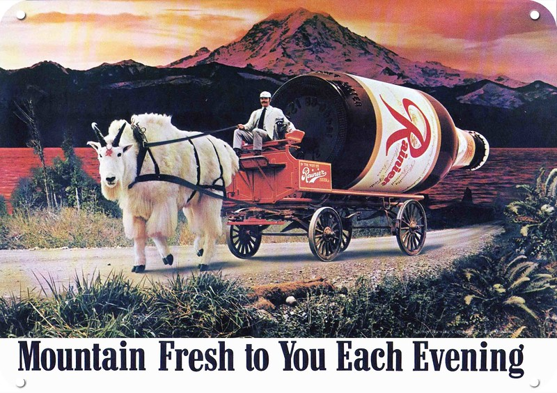 1974 RAINIER BEER Iconic 70/'s MAN /& MOUNTAIN GOAT w// 6 Pack REPLICA METAL SIGN