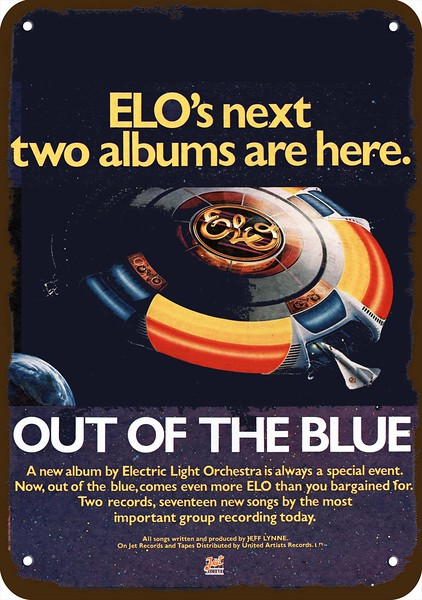 1979 ELECTRIC LIGHT ORCHESTRA ELO Discovery Vintage Look REPLICA METAL SIGN