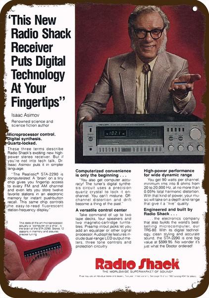 1982 RADIO SHACK STA-2290 REALISTIC RECEIVER Vintage Look REPLICA METAL SIGN
