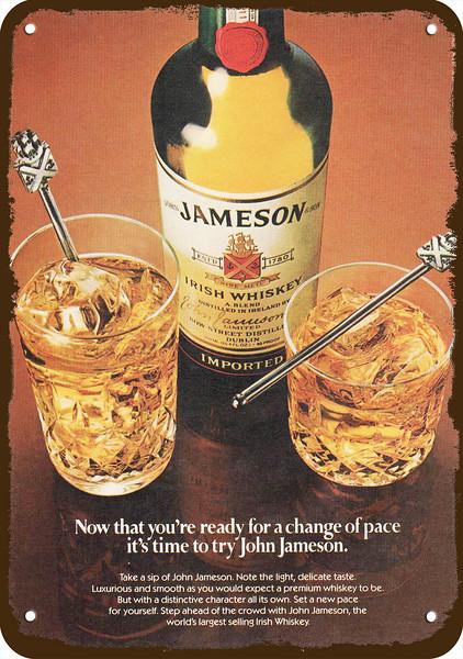 1982 JAMESON IRISH Whiskey Vintage Look Replica Metal Sign TIME FOR JOHN JAMESON