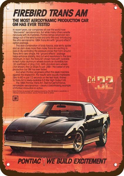 1984 pontiac firebird trans am sports car vintage look replica metal sign ebay ebay