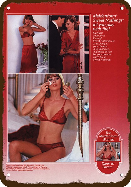 4a977e75c73c4 Details about 1984 MAIDENFORM BIKINI PANTIES   BRA Vintage Look REPLICA  METAL SIGN SEXY WOMAN