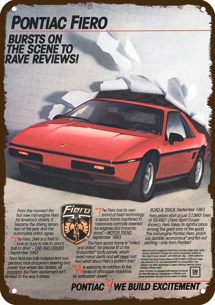 1986 PONTIAC FIERO GT Red Sports Car Coupe Vintage Look REPLICA METAL SIGN
