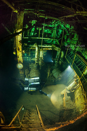 Exploring the 205ft deep engine room of the shipwreck Daniel J Morrell