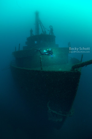 Bow of the Great Lakes Freighter Daniel J Morrell sitting upright in 200ft of water