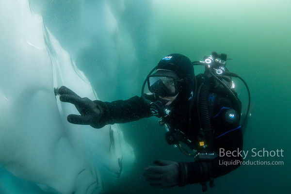 Diving Ice bergs in Antarctica