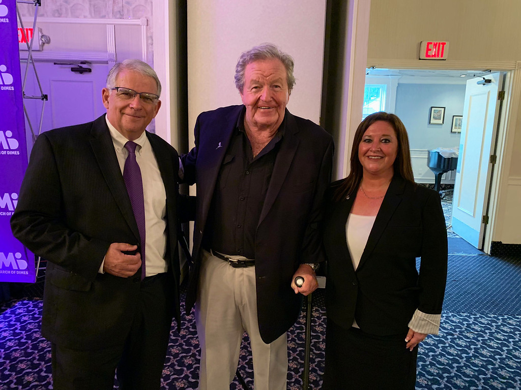 . From left, March of Dimes� Ed Doherty of Boston, Ziggy Burns of Dracut, and co-Chair Jenna Guilbeault of Lowell