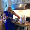 """Whipping up my favorite """"dressing"""" recipe...<br /> Compliments to the Chef Lenzi's for the cute chef hat.  Kicking up my silver pumps while cooking in the kitchen wearing a cobalt blue seethe dress with silver zippers. Silver pearl rhinestone choker and faux diamond rope chain necklace. Ladies dressed elegantly in cocktail dresses, suits and  still in bright colors! Gentleman wore classic suits! Another great evening and support of MOD!"""