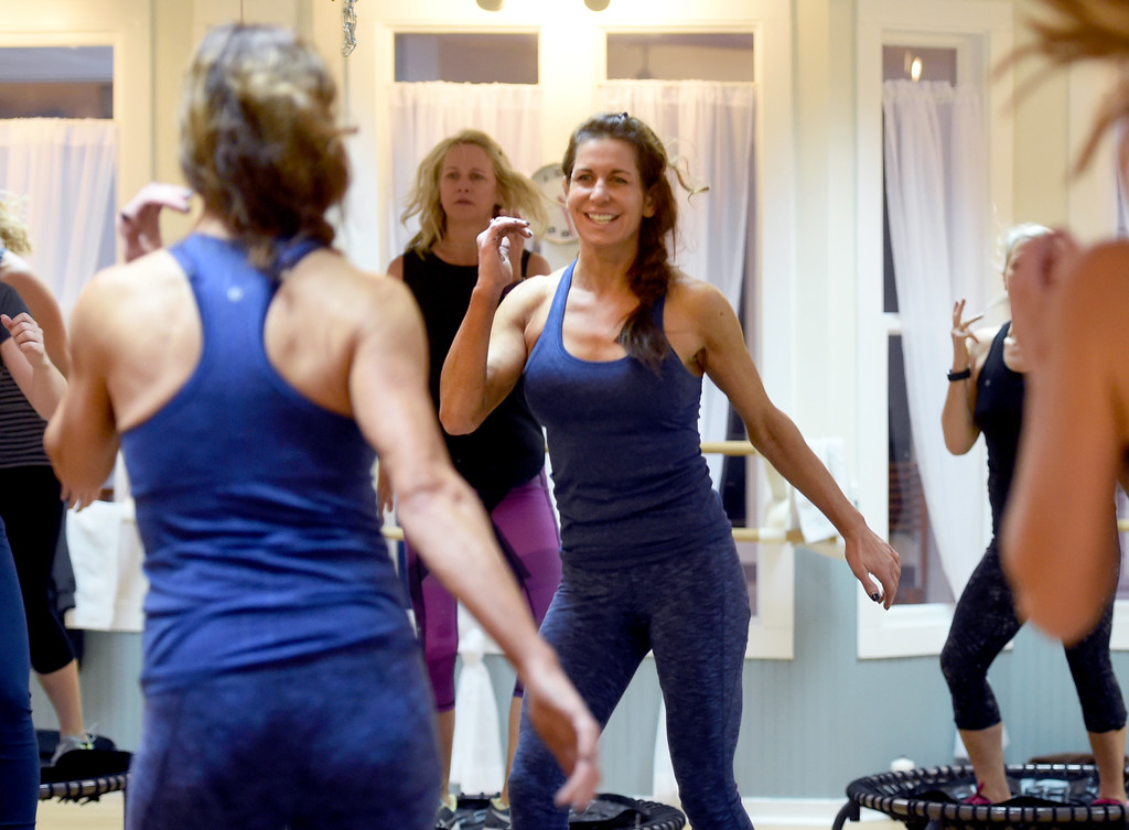 . Julie Franklin, center, leads the class on Thursday. Julia Franklin\'s Signature Class at Begin Fitness in Niwot. For more photos and a video, go to dailycamera.com.  Cliff Grassmick  Staff Photographer October 5, 2017