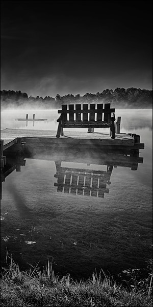 Dock Bench in Sunrise Mist