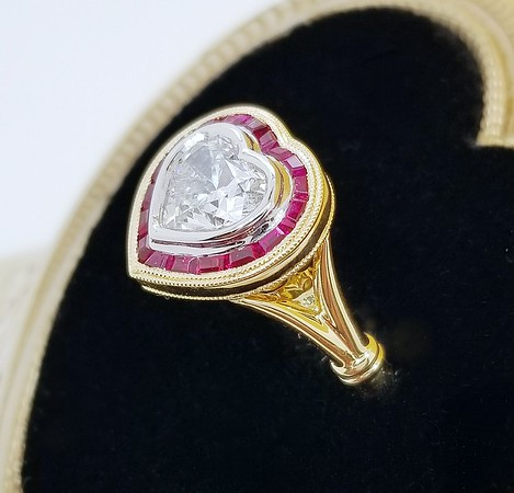 """Modified """"Amelia"""" French Cut Ruby Halo - Featuring a 1.31ct Heart Diamond"""