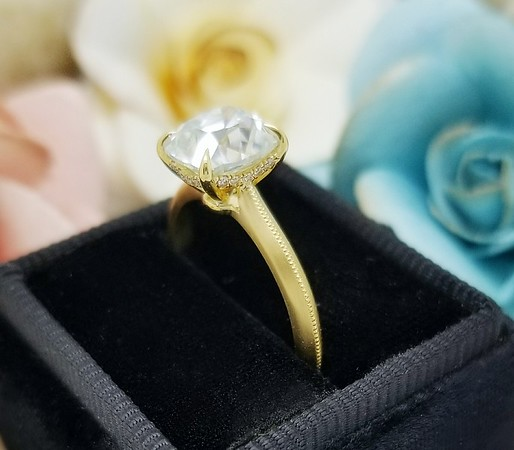 """Modified """"Fina"""" Solitaire - Featuring a 7.5mm AVC Moissanite"""
