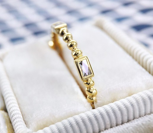 "The ""Juno"" French Cut Diamond and Bead Eternity Band in 18k Yellow Gold"
