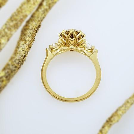 "The ""Hazel Anne"" Three Stone Setting - Featuring a 2.44ct Fancy Brownish Yellow Old European Cut Diamond"