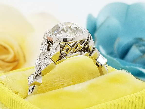"""The """"Artemis"""" Solitaire - Featuring an 8mm LAD Moissanite Antique Cushion Center"""