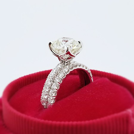"""The """"Mashaal"""" Pave Solitaire with Matching Band - Featuring a 2.23ct Old European Cup Diamond"""