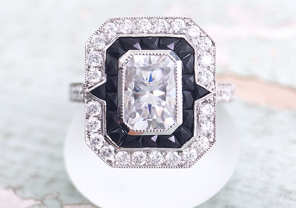 "The ""Kelly"" French Cut Onyx and Diamond Halo - Featuring a 5 x 7mm Radiant Moissanite"