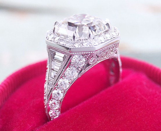 "The ""Greta"" Halo Setting - Featuring a 3.40ct Vintage Asscher"